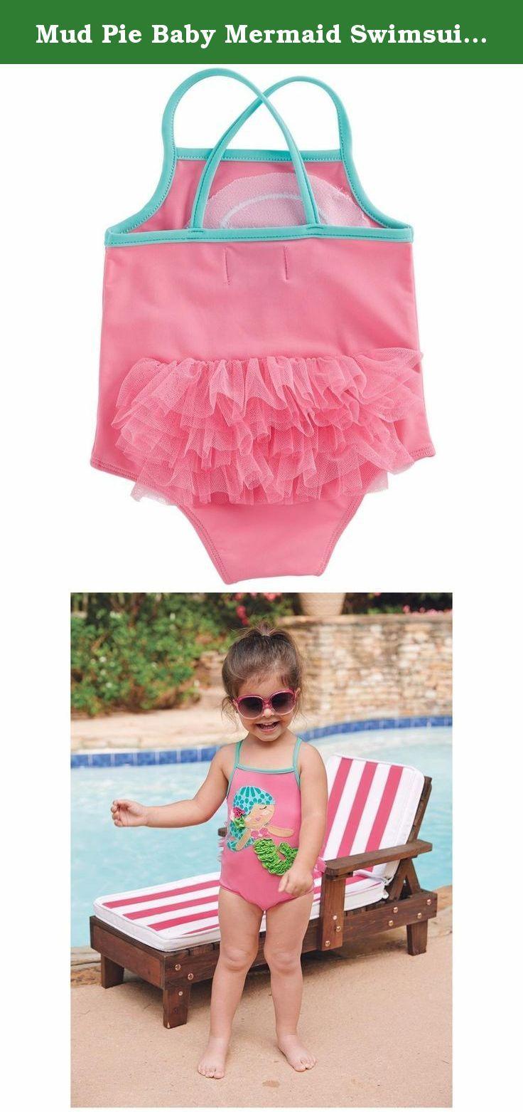 dec9cc5e3f2e9 Mud Pie Baby Mermaid Swimsuit, Multi, 12-18 Months. One-piece nylon spandex  swim suit has dimensional mermaid applique with mesh bum ruffles.