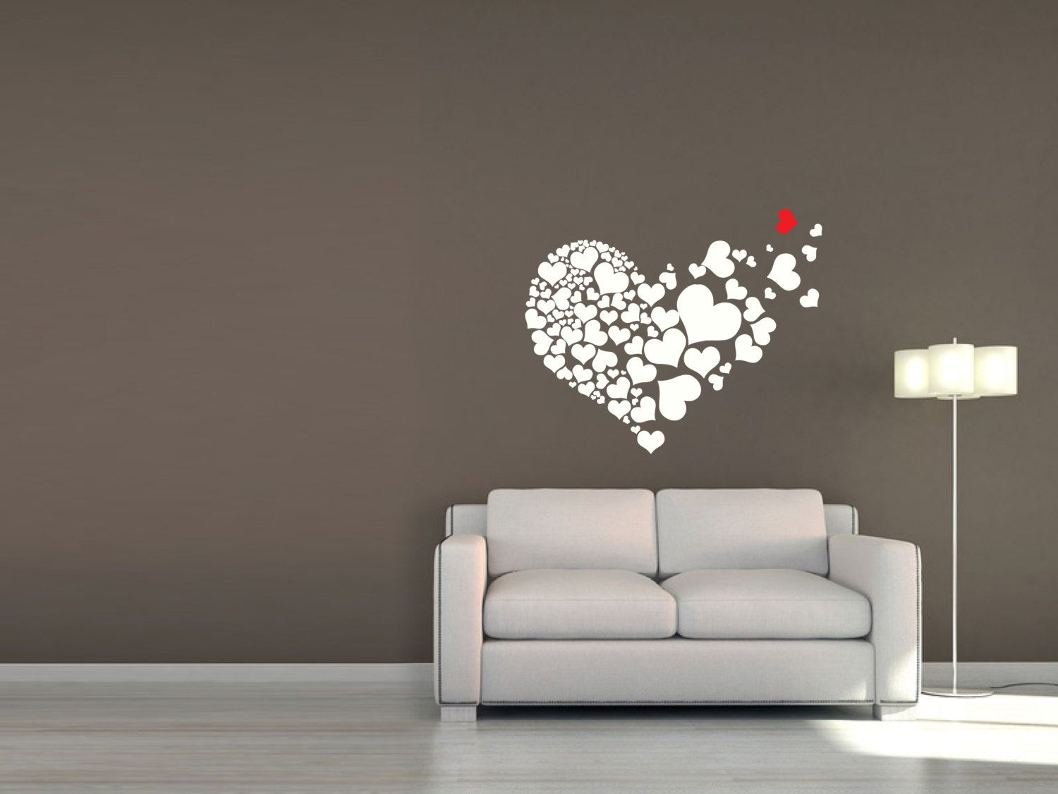 Wall Sticker Love Hearts Removable Heart Design in Black Grey