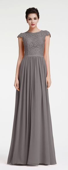 Modest Charcoal Grey Bridesmaid Dresses Cap Sleeves | Charcoal ...
