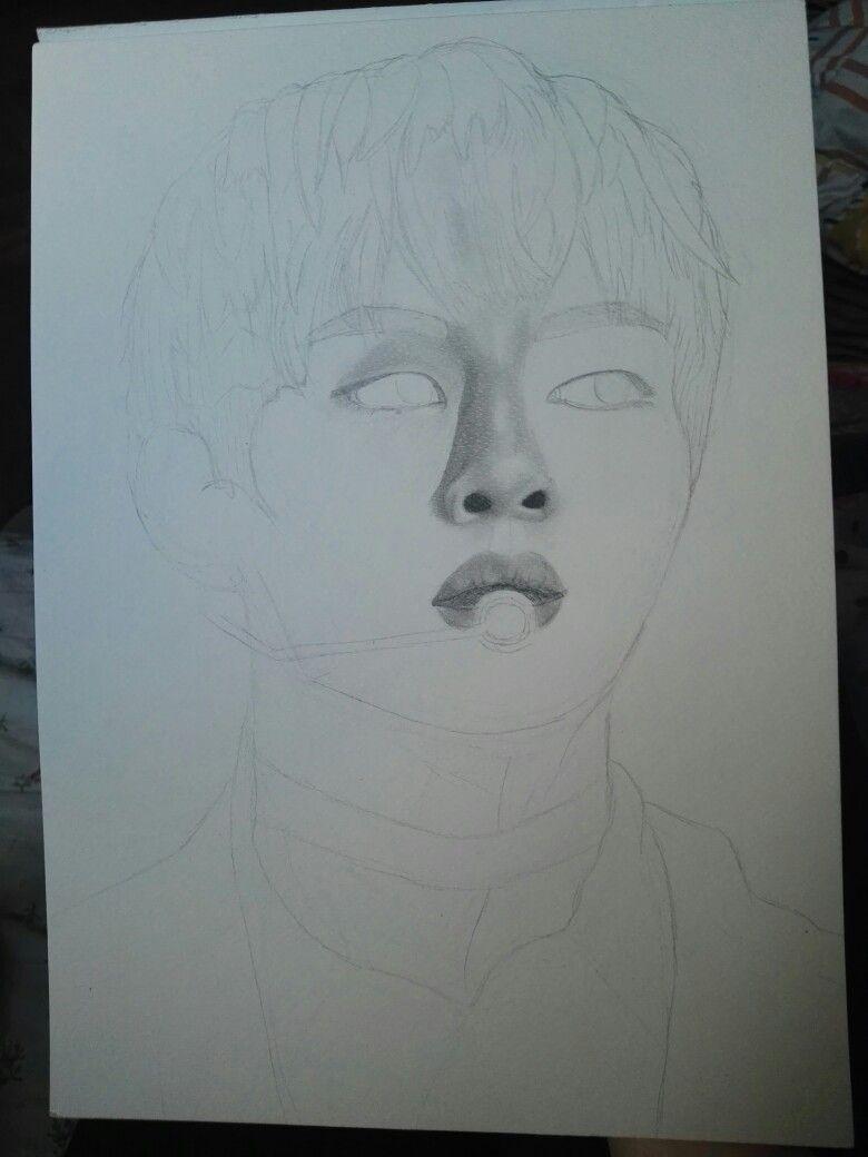 Bts v fanart kim taehyung pencil drawing Bts v kim ...