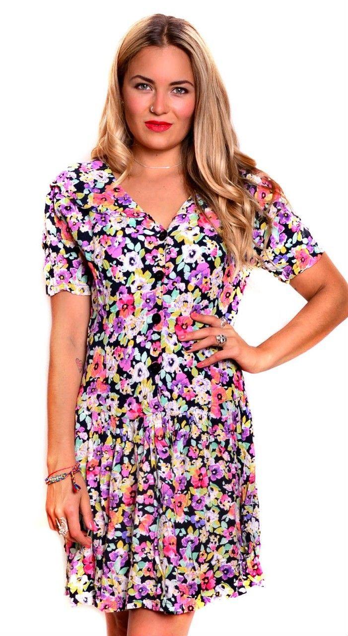 90's Floral Babydoll Festival Dress $59