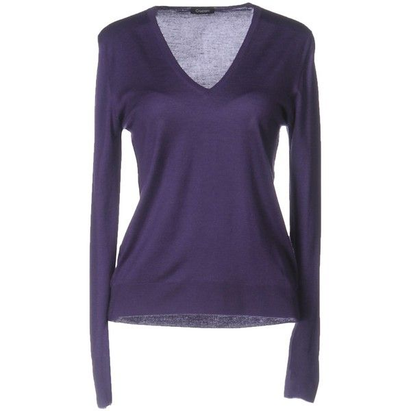 Cruciani Jumper ($360) ❤ liked on Polyvore featuring tops, sweaters, purple, v-neck sweater, cashmere v-neck sweater, purple jumper, cashmere sweater and purple cashmere sweater