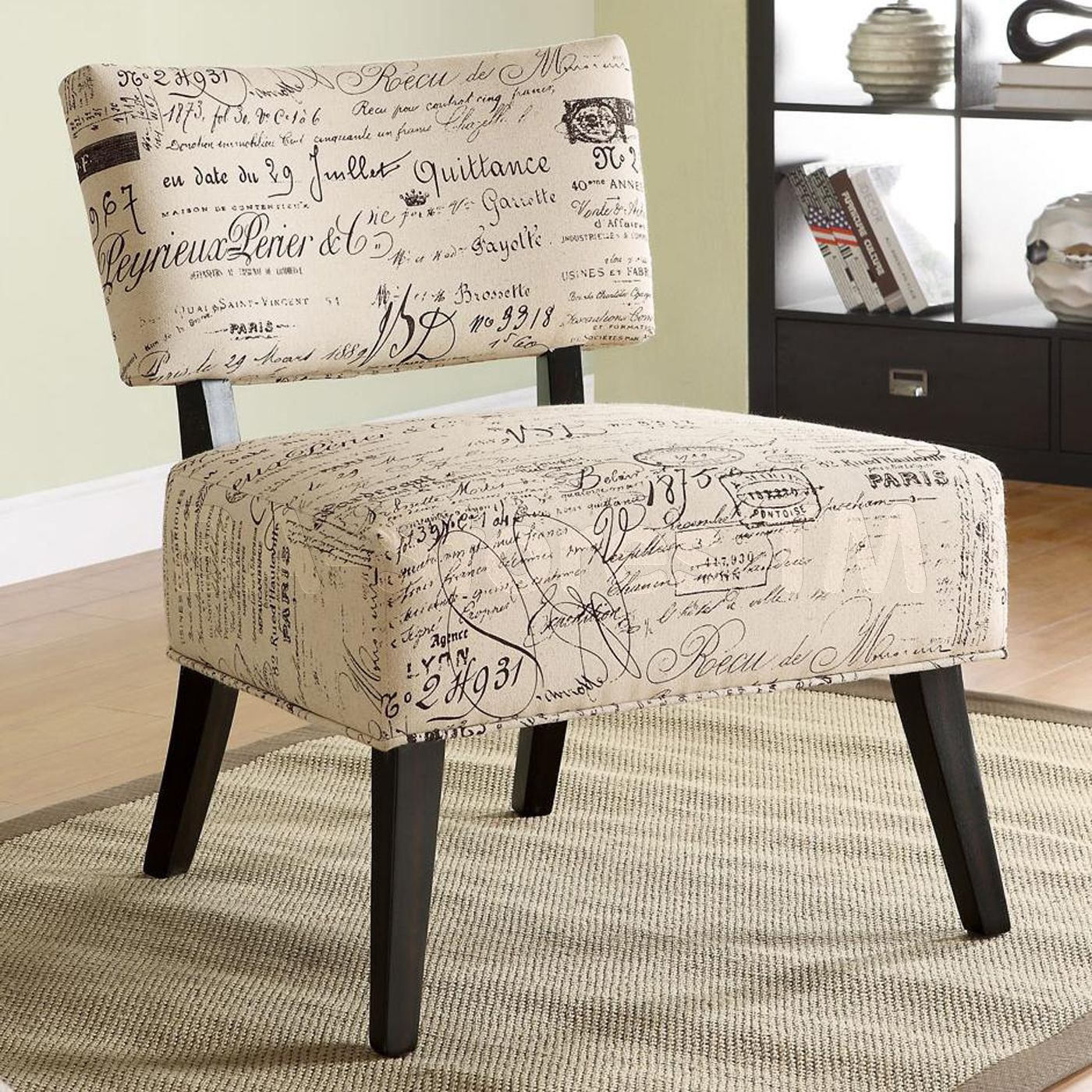 Groovy French Chair French Script Fabric Accent Chair 267 30 Ibusinesslaw Wood Chair Design Ideas Ibusinesslaworg