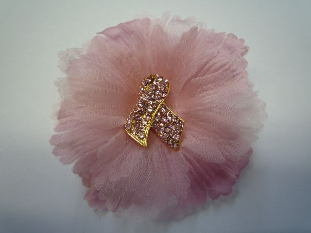 Breast Cancer Awareness Fabric Flower Pin