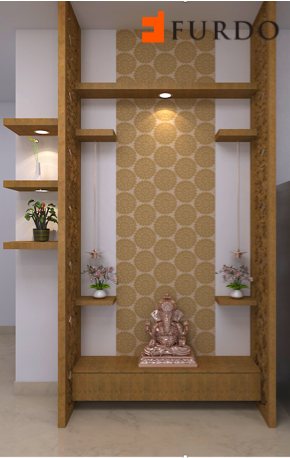 Contemporary Puja Corner With Wooden Rafters Pelmet Ligh Puja