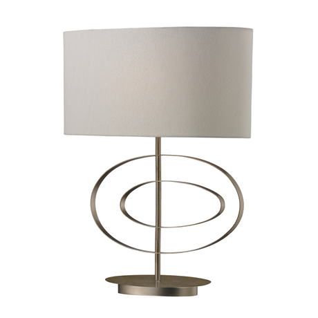 Off Centre Oval Table Lamp In Silver Leaf Table Lamp