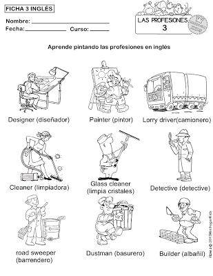 FICHA 1,2,3,4 y 5 PARA APRENDER LAS PROFESIONES Y COLOREAR   las ...