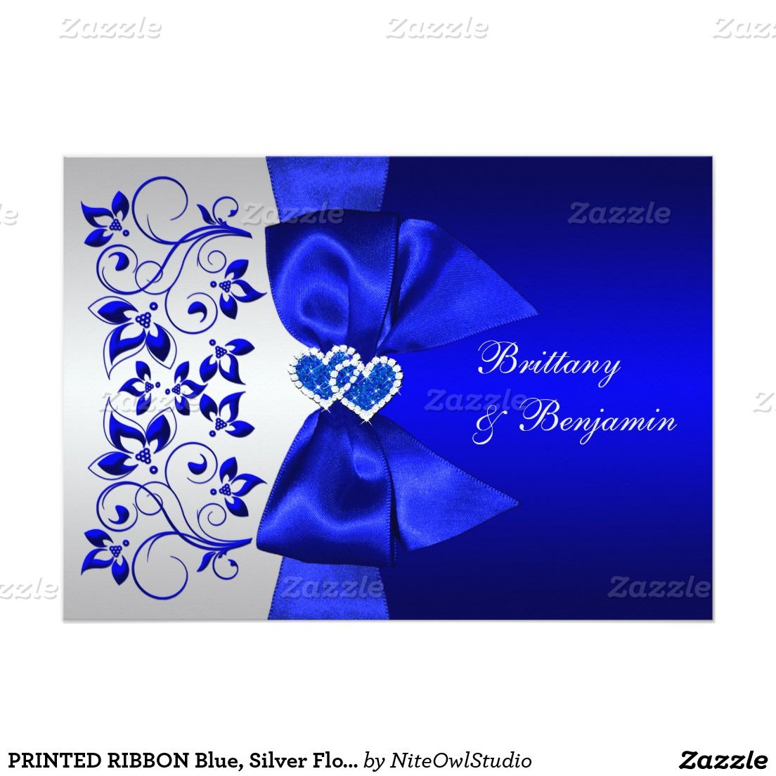 PRINTED RIBBON Blue, Silver Floral Wedding Invite ...