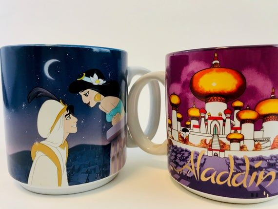 Vintage Disney's Aladdin Mug Set, 2 Aladdin Mugs, 1990s Disney Mugs, Vintage 90s Walt Disney Aladdin