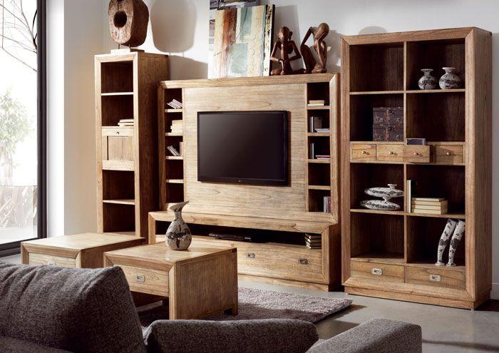 muebles de saln formando librera compacta de estilo colonial formada por mesa tv