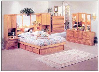Queen Coronado Oak Wall Unit with Waterbed Frame Price $2,599.00 ...