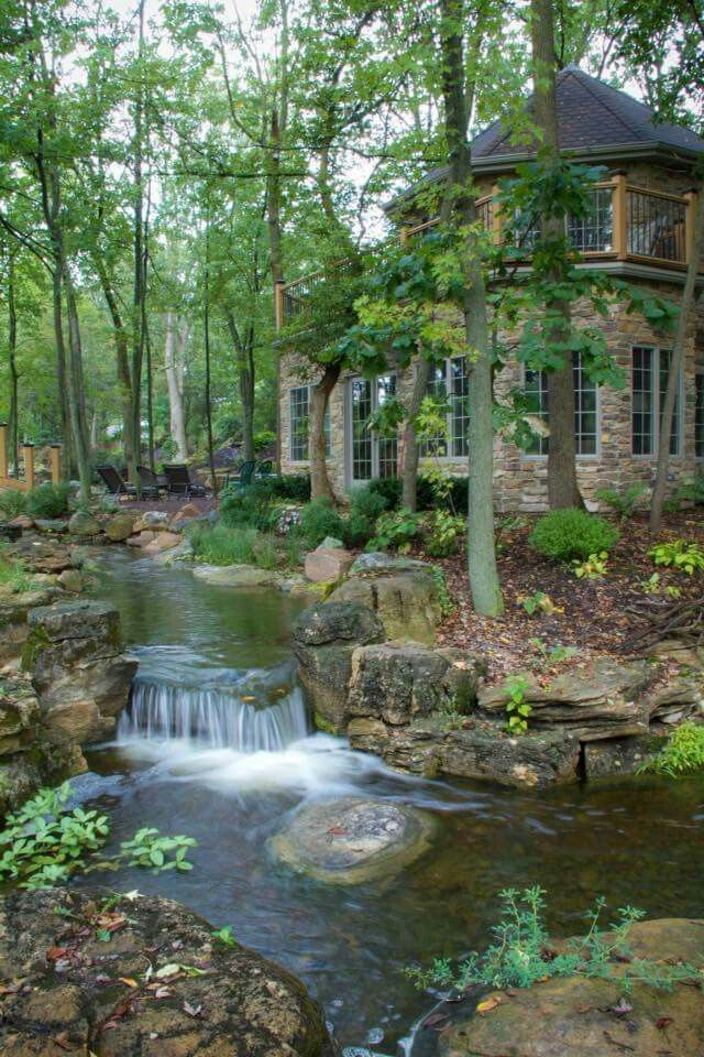 This is so beautiful.. I love log cabins | Waterfalls ...