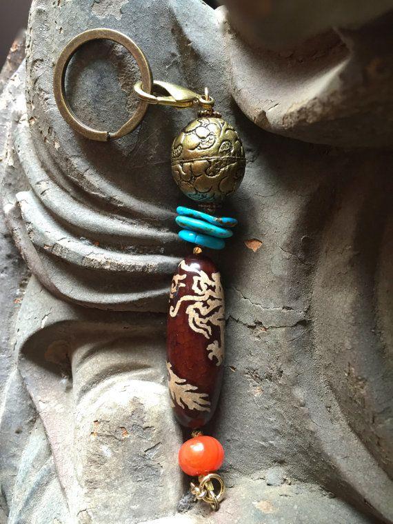 Handmade Lucky Dragon Amulet Keychain Tibetan Asian by MinedStars