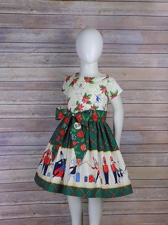 42f95f264a06c Girls Nutcracker Dress, Christmas Dress, Plaid, Red Green Dress ...