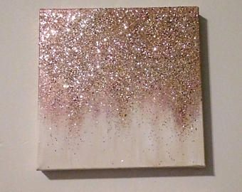 Handmade Abstract Glitter Painting Custom Modern Chic Home Etsy Chic Home Decor Diy Wall Art Glitter Room