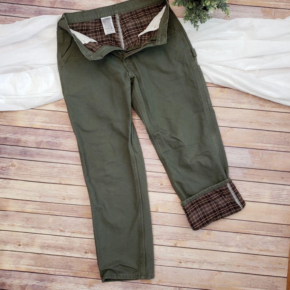 f179a9c1 Carhartt Mens 33 x 30 Jeans Green Original Dungaree Fit Flannel Lined Pants  Jean #Carhartt #Carpenter
