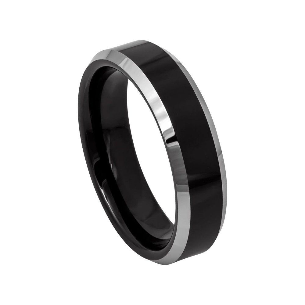 Tungsten Wedding Band Black Ring Mens Wedding Band 6mm Etsy Black Tungsten Rings Rings Mens Wedding Bands Tungsten Carbide Wedding Bands