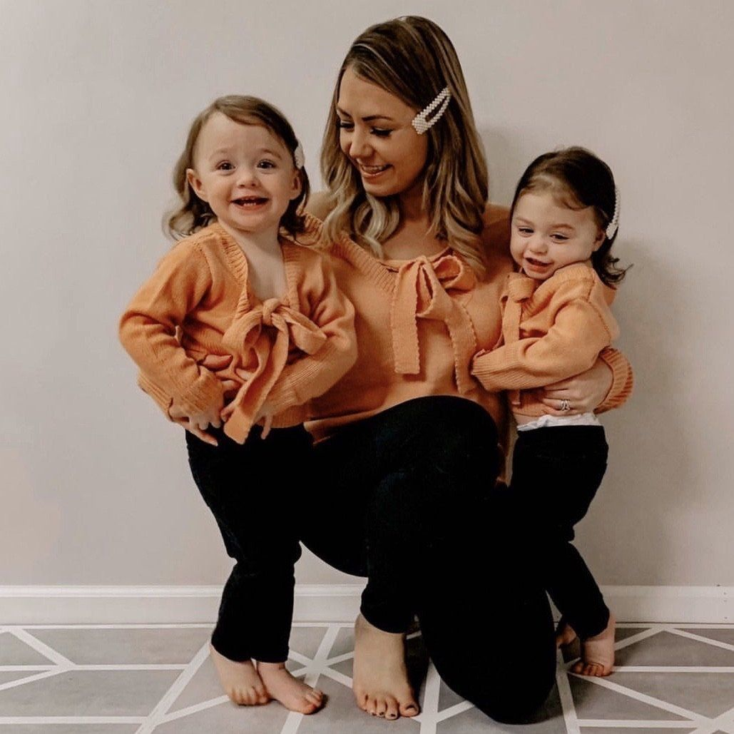 Photo of Matching Mom Baby Girl Knitted (Front/Back) Bow knot Sweater