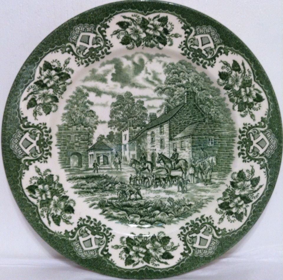 English Ironstone Tableware EIT Green Transferware Hunt Scene Dinner ...