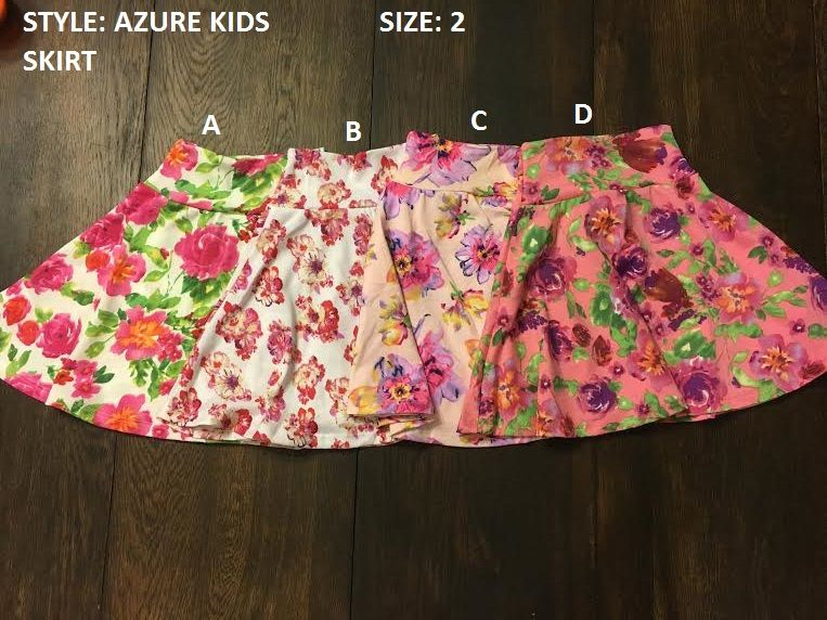 """Kids AZURE SKIRTS! ALL Sizes!!! Full Inventory LuLaRoe Mary Karlson on FB or message here with letter and """"Sold"""""""