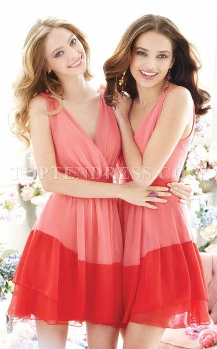 Short Length Fashion A-line Chiffon Ruched Bridesmaid Gown