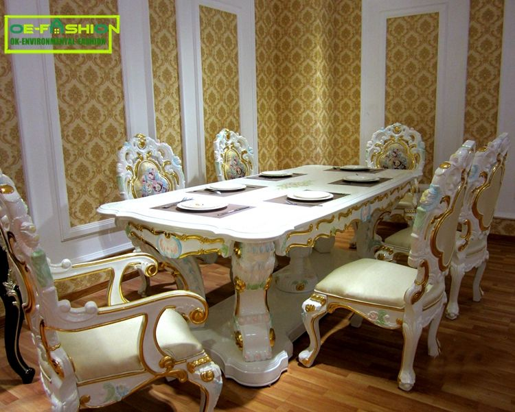 Luxury Baroque Wooden Carved Square Shape Dining Table Set From China Furniture Factory Luxury Dining Chair Luxury Dining Tables Dining Room Table Set