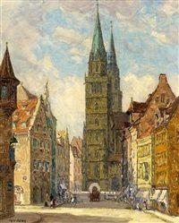 Ansicht Nürnbergs mit Blick auf die Lorenzkirche by Fritz Geyer