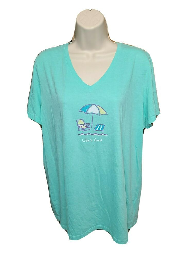 Life is Good at the Beach Womens Green XL TShirt #LifeisGood #Basic