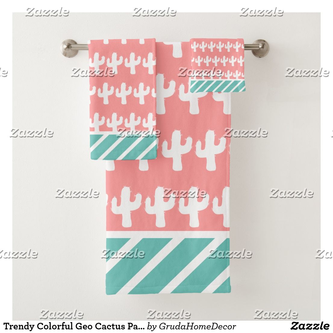 Trendy Colorful Geo Cactus Pattern Bath Towel Set Zazzle Com Patterned Bath Towels Bath Towel Sets Towel Set