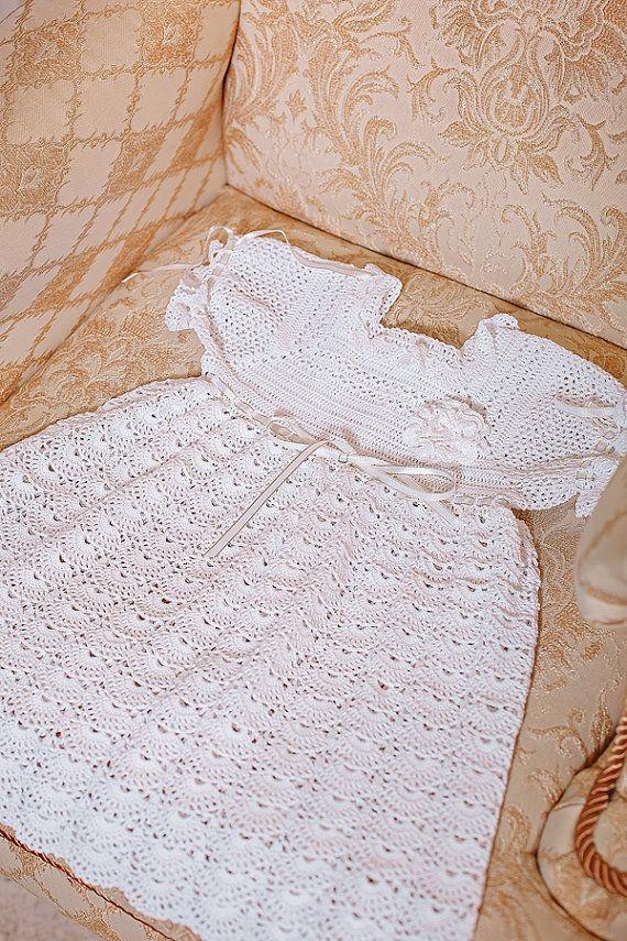 Bautizo set bebé ganchillo vestido bautismo botines y sombrero ...