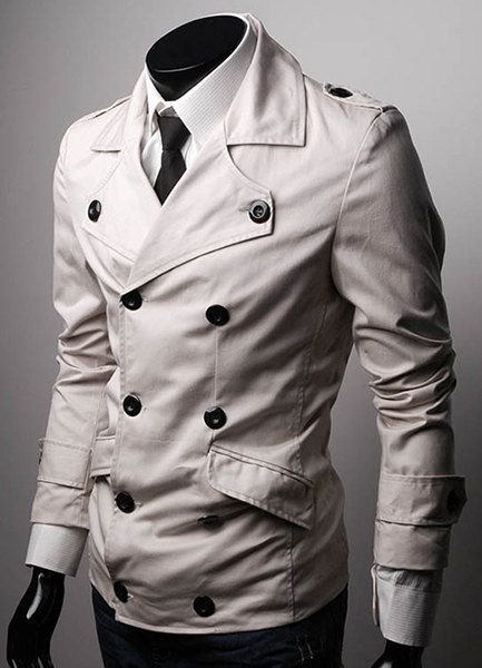 Casual Turn-down Collar Multi-Button Flap Pocket Solid Color Slimming Long Sleeves Peacoat For Men
