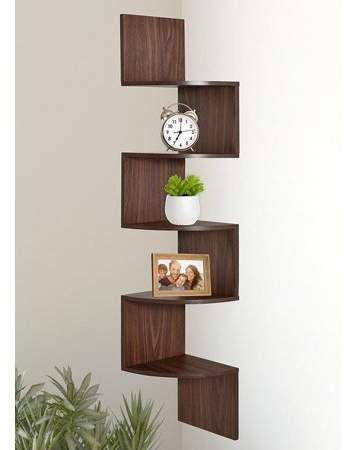Greenco 5 Tier Wall Mount Corner Shelves Walnut Finish Walmart Com Corner Decor Corner Shelf Design Shelves