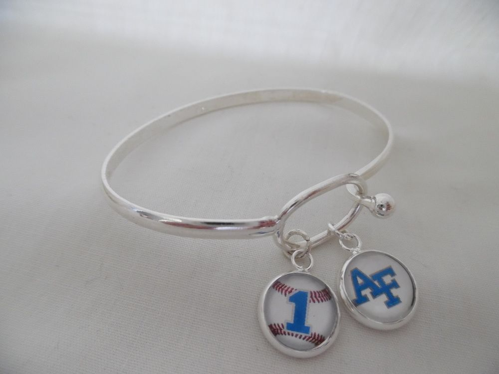 Air force academy silver bangle bracelet personalized