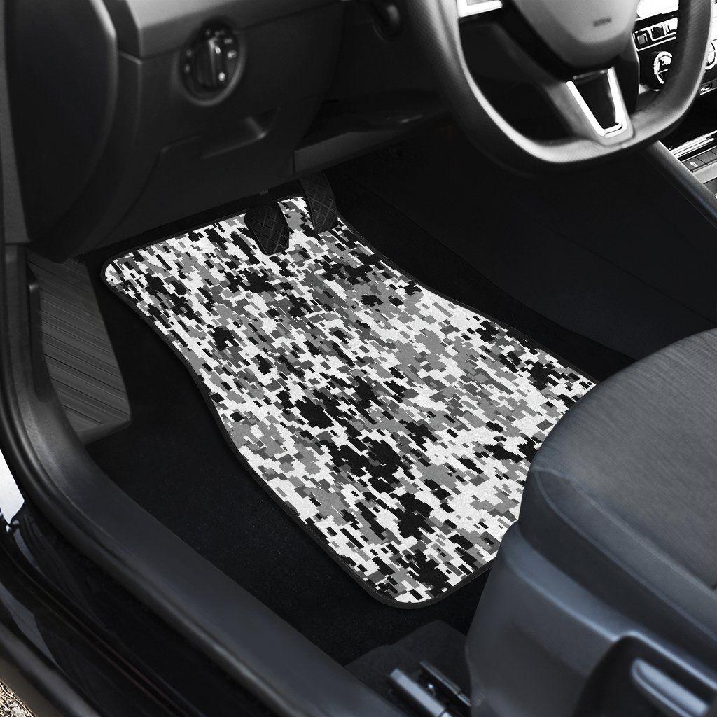 Digital Camo Black & White Front Car Mats (Set Of 2) In