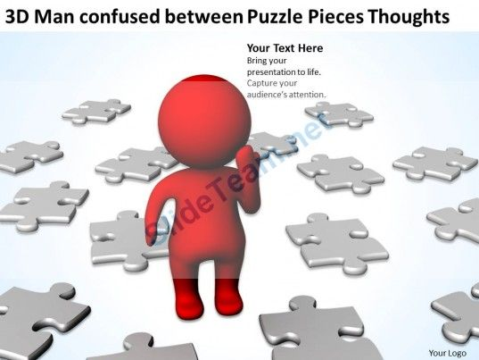 D Man Confused Between Puzzle Pieces Thoughts Ppt Graphics Icons