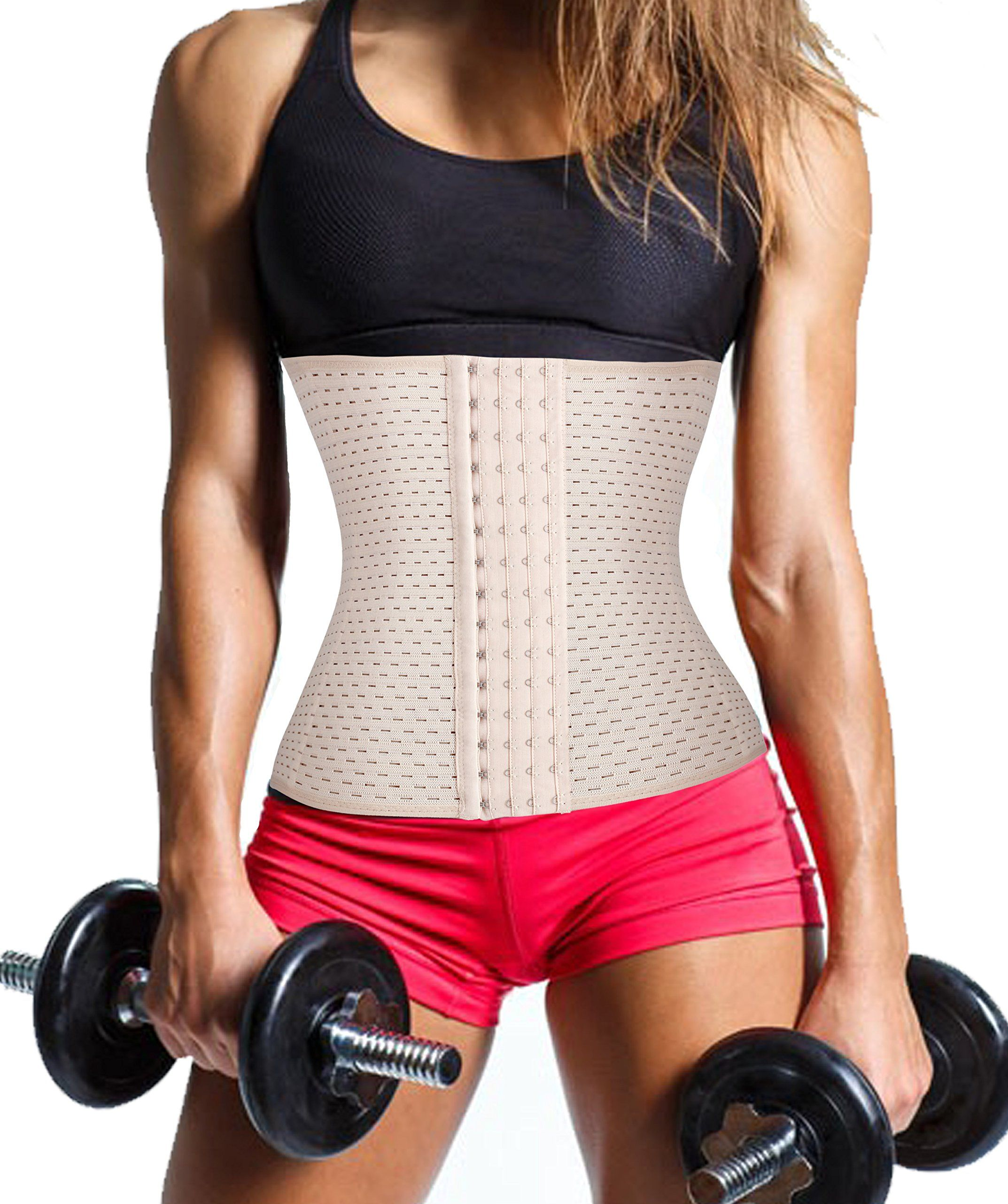 3d5338eeada Gotoly Waist Trainer Corset for Weight Loss Sport Workout Tummy Fat Burner  M Fits 28.331.4 inch Waistline Beige -- Learn more by visiting the image  link.
