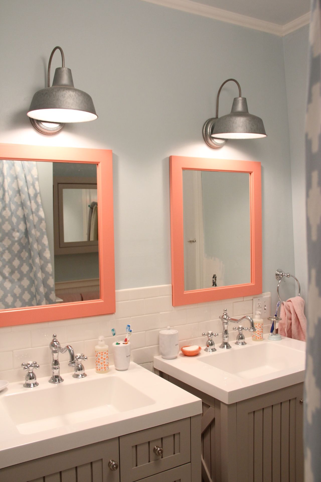 interesting bathroom light fixtures%0A Girls bathroom light fixture and colored mirror frame