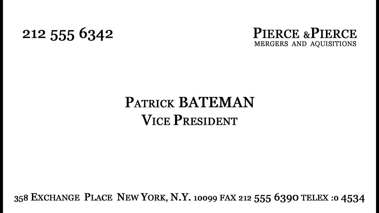 Make Patrick Bateman S Business Card Youtube Intended For Paul Allen Business Card Template Card Template Business Card Template Word Business Card Template
