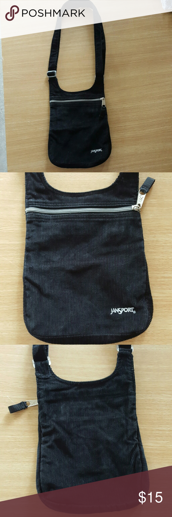 JanSport cross body bag Black ribbed felt cross body bag. Has adjustable strap, silver zipper across top. Big pouch with zippered pouch on inside back wall. Excellent condition. Jansport Bags Crossbody Bags