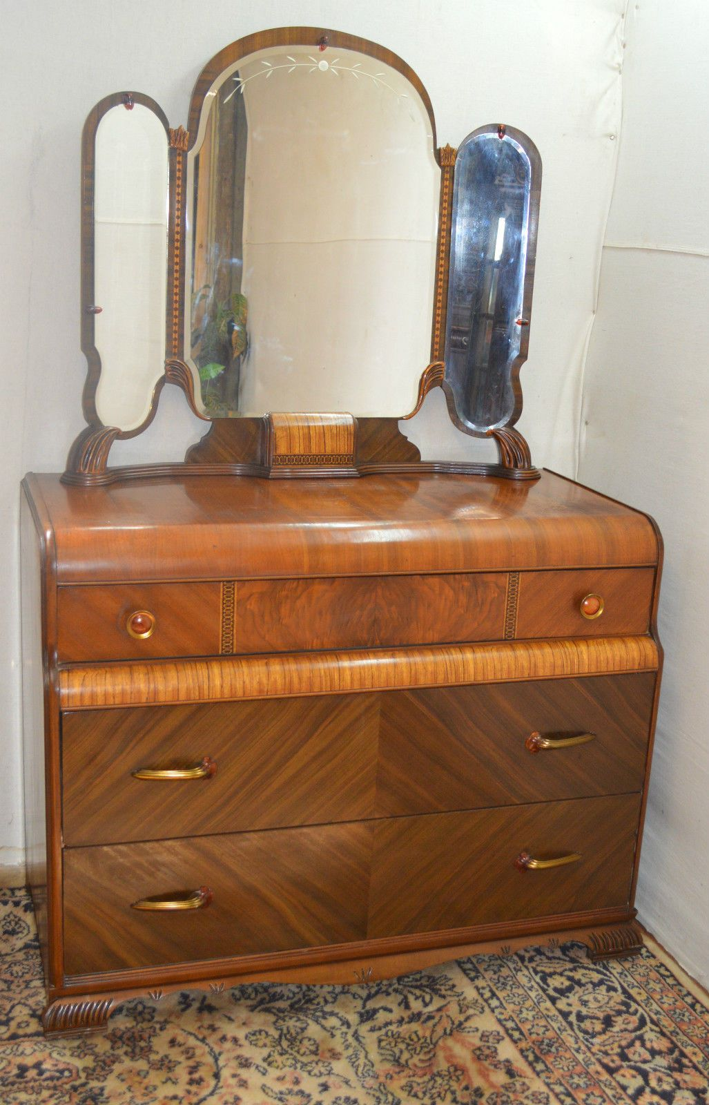 Bedroom Set With Vanity Art Deco Waterfall Style Dresser Vanity With Mirror Part