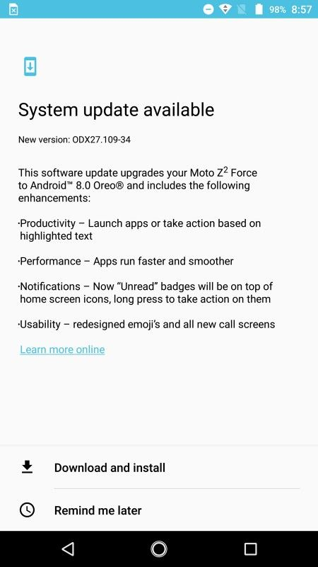 Verizon's Moto Z2 Force Scores Android 8 Oreo Upgrade
