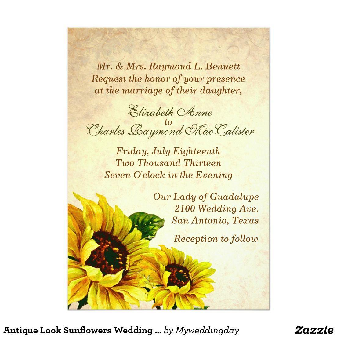 Antique Look Sunflowers Wedding Invitation | *Sunflower Wedding ...