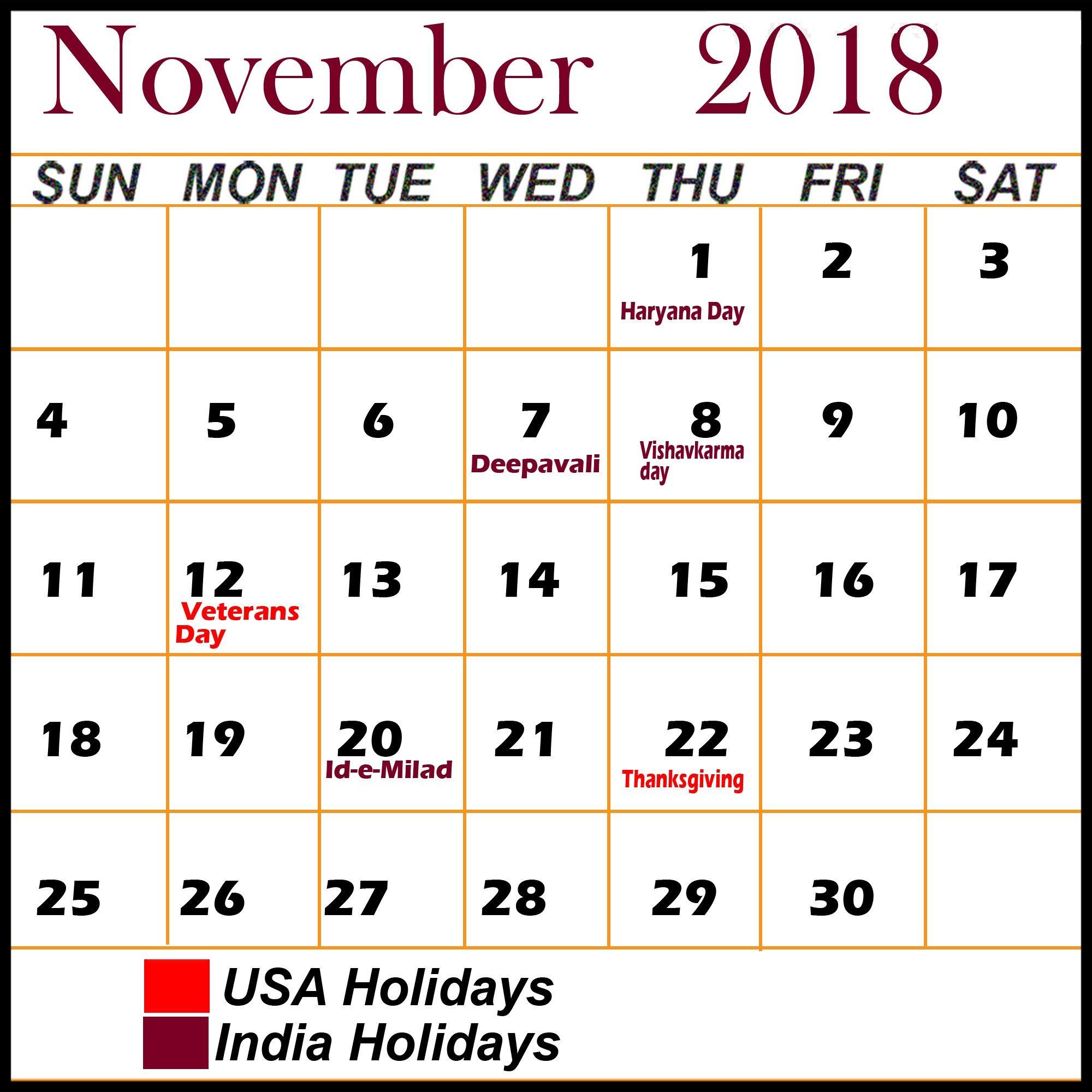 November 2018 Calendar With Holidays 2018 Holiday Calendar