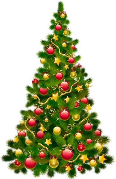 Christmas Tree Transparent Background.Large Transparent Christmas Tree With Ornaments Clipart
