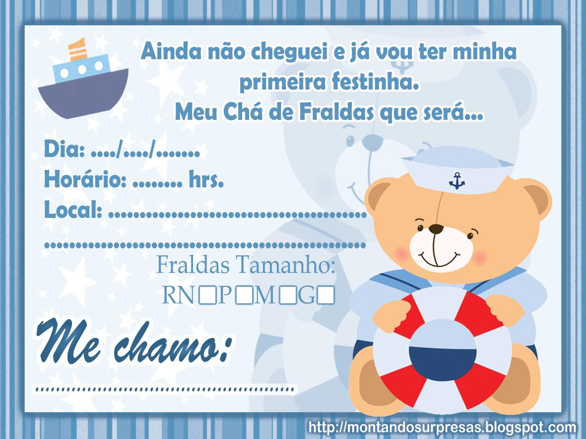 Convite De Cha De Bebe Ursinho Pesquisa Google Diversão Baby