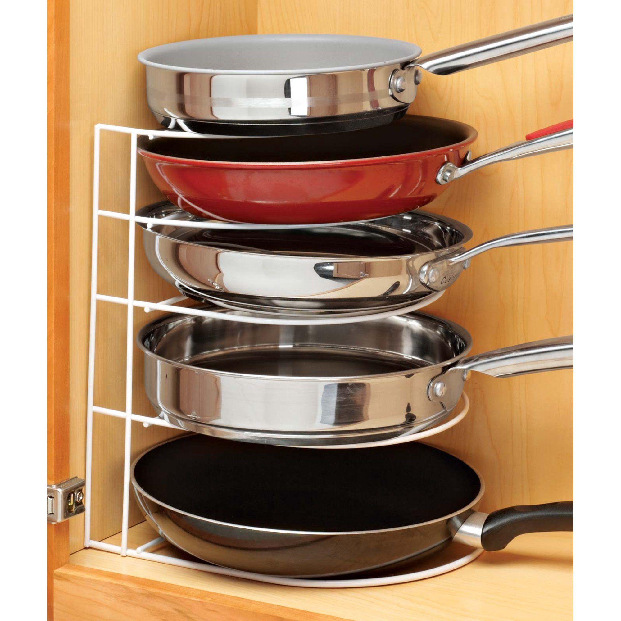 Frying Pan Organizer Walmart Com Kitchen Storage Hacks Kitchen Organization Diy Kitchen Pans Organization