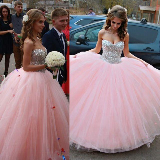 5241b1897 Vestido de Debutante sin tirantes rosado dulce 16 Vestidos del Quinceanera  bola cristales piso longitud Vestidos de 15 años E6495