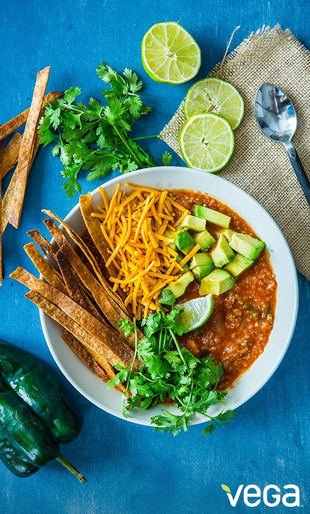 Crockpot Spicy Vegetarian Tortilla Soup With Quinoa Half Baked Harvest Recipe Vegetarian Tortilla Soup Vegetarian Recipes Vegetarian Crockpot