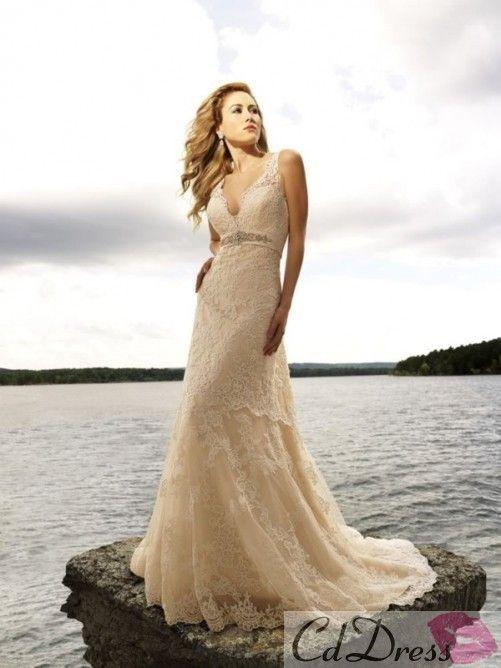 A-Line/Princess V-neck Chapel Train Organza Satin Lace Wedding Dress With Beadwork - Lace Wedding Dresses - Wedding Dresses - CDdress.com