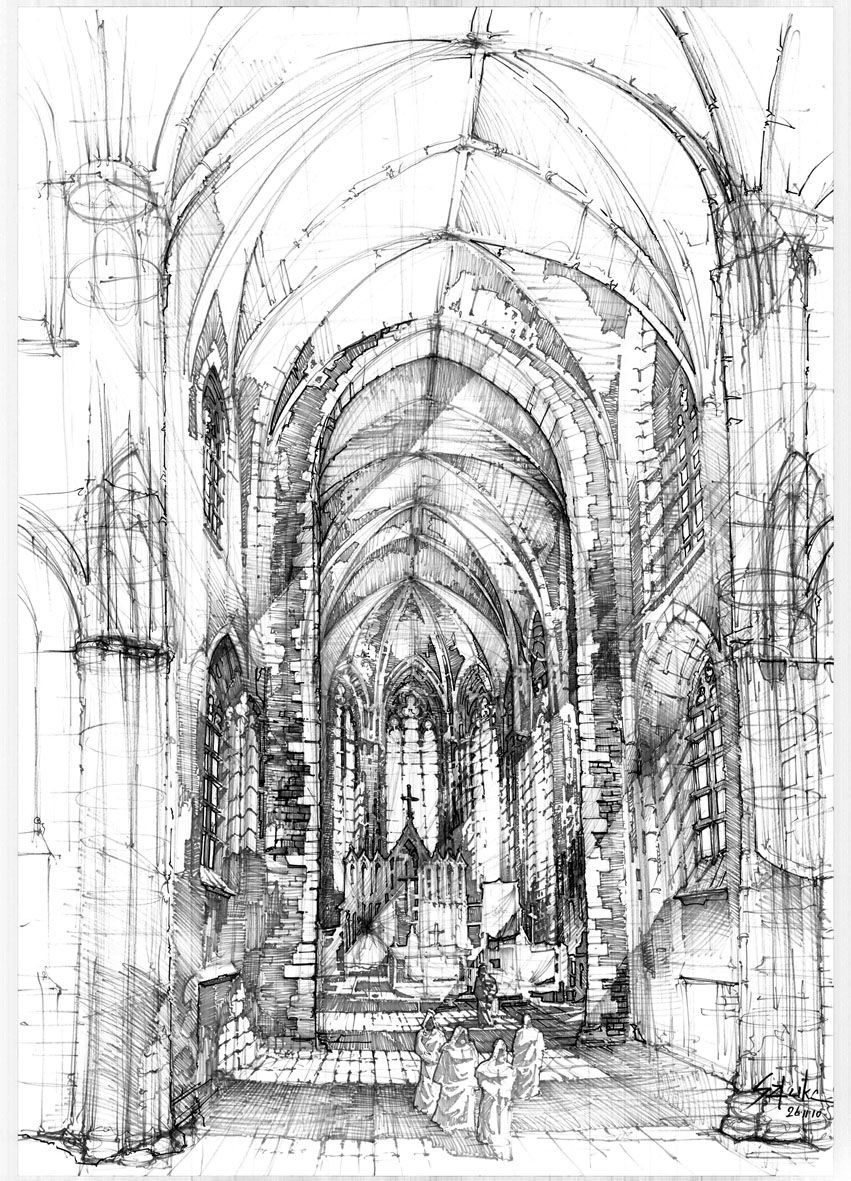 Gothic Cathedral Drawing